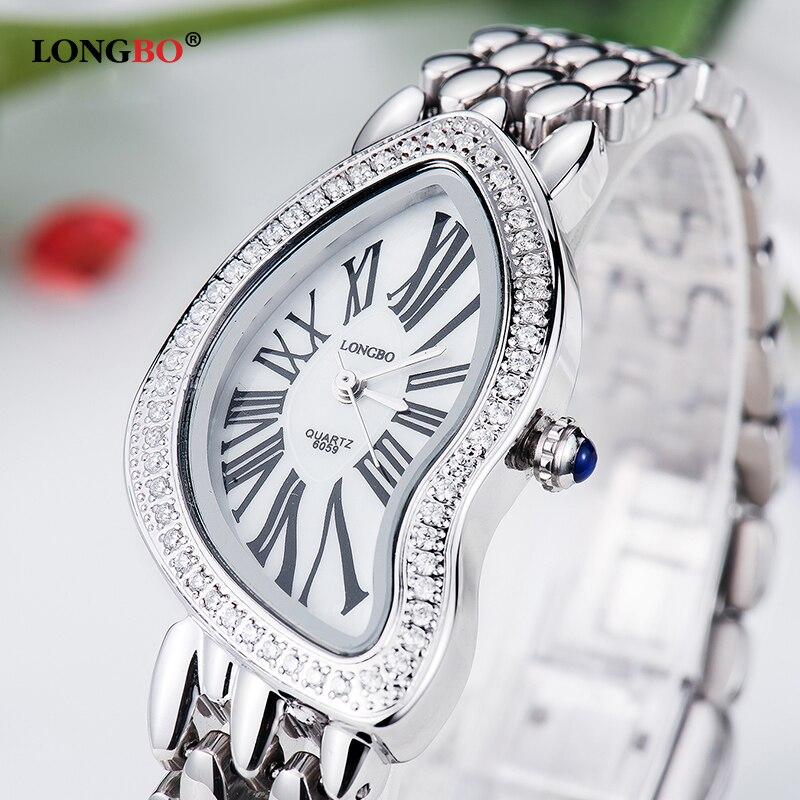 Luxury Women Watch LONGBO Brand Ladies Fashion Irregular Shape Dial Quartz Watches Casual Lady Waterproof Wristwatches 6059<br>