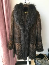 brown color lady winter natural knitted mink fur coat with raccoon fur collar genuine real fur jacket full sleeve big size coat