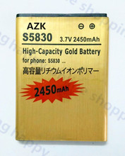 High Capacity 2450mAh Replacement EB494358VU Gold Battery For Samsung Ace GT-S5830 S5830 GT-S5660 S5660 Battery +Tracking code