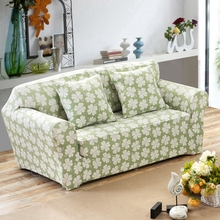 Light Green Leaves Couch Sofa Slipcovers Anti-slip Universal Stretch Corner Sofa Covers For Living Room Loveseat Covers For Sofa(China)