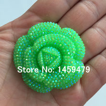New 3D Flowers Large Resin Green AB Color Stick-On Crystals Rhinestones DIY  Craft art Accessory Stones 5pcs 47mm 153dcf6b6a61