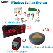 Wireless Call Calling System Waiter Server Paging Service Watch Receiver With Button(1 display 3 wrist watch 30 call button)