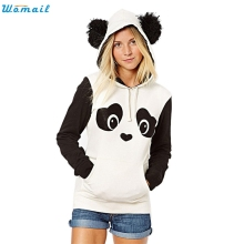 Womail Newly Design  Womens Casual Cute Panda Pocket Hoodie Sweatshirt Hooded Pullover Tops Winer Clothing Blouse 160922
