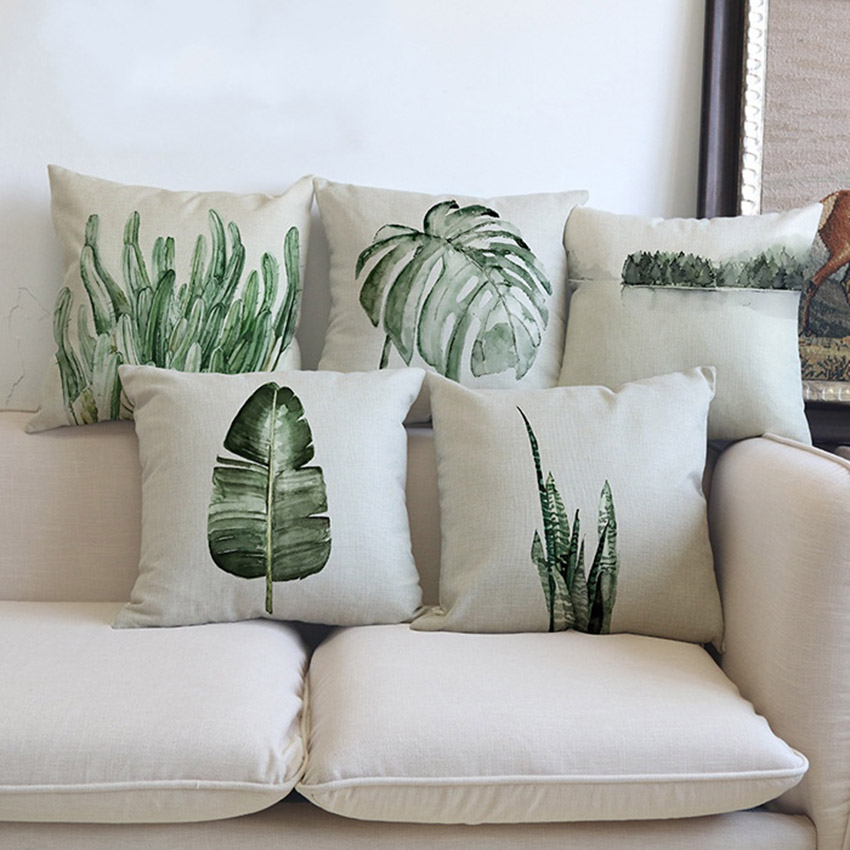 Tropical-Plants-Palm-Leaves-Cactus-Cushion-Pillow-Case-Hand-Painting-Green-Plants-Sofa-Throw-Pillow-Cover