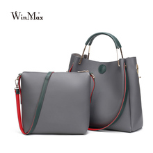 Winmax Factory PU Leather Women Handbag Business Solid Two Pieces Shoulder Bag Girls Small Casual Shopping Female Crossbody Bag