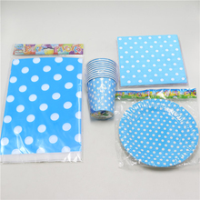 61pc\lot Blue Polka Dots Tablecloth Paper Cups Kids Favors Plates Birthday Party Napkins Decoration Baby Shower Tissues Supplies