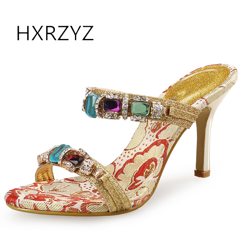 HXRZYZ women shoes yellow high heel sandals summer new fashion ladies sequins super high thin heels rhinestone womens shoes<br>