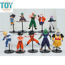 New 10 PCS Dragon Ball Z Characters Action Figures Dragonball Anime Toys Wukong Goku Roshi Piccolo With Base 5-10cm Brinquedos