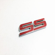 3D Auto Car Rear/ Front Red SS Emblem Decal Badge Sticker Fit For 2010-2014 Chevy IMPALA COBALT Camaro S S for Door stickers(China)