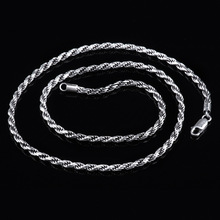 S925 silver Italy imported fashion men's silver Hemp Necklace retro jewelry wholesale clavicle female personality(China)