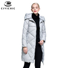 CIVICHIC Hot Sale Korea Elegant Mid Long Down Jacket Female Winter Hooded Detachable Warm Parka Casual Soft Eiderdown Coat DC590(China)