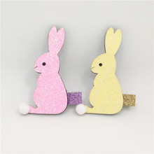 20pcs/lot Pink Rabbit Hair Clip Easter Glitter Felt Bunny Barrette Spring Yellow Cartoon Animal Hairpin Short Pom Pom Tail Hare