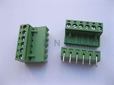 50 pcs 5.08mm Angle 6 pin Screw Terminal Block Connector Pluggable Type Green<br>