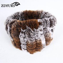ZDFURS * Women fashion fur Scarf rabbit knit scarves Warm fur headband neckwarmer(China)