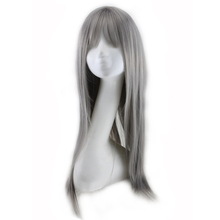 QQXCAIW Long Straight Cosplay Women Gray Grey 70 Cm Synthetic Hair Wigs