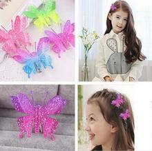 New fashion  Hair Accessory Wedding Bride Women Colorful Butterfly Hairpins baby Girl shiny bow Hair Clips Barrettes
