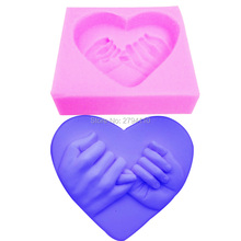 S041 Silicone Fondant Cake Molds Hand Love Soap for chocolate silicone mold cup cake top mold Sugar Craft Tools 7.5*6.5*2cm(China)