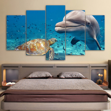 HD printed 5 piece Canvas Art Blue Deep Ocean Dolphin Fish Group Painting Wall Decorations Living Room The underwater world