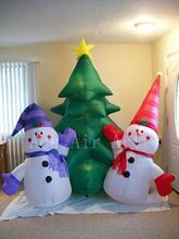 air blown Christmas inflatable 8' tree w snowmen for decoration  holiday events