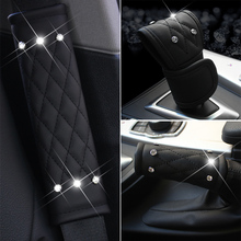 LADYCRASTAL Luxury Diamond Auto Seat Belt Cover Hand Brake Gear Cover Car Seat Belt Shoulder Pad Car Styling Suit For All Car