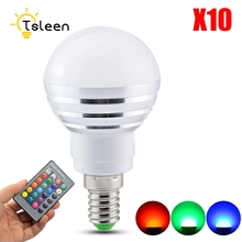 TSLEEN 10Pcs RGB LED Lamp AC85-265V 3W 5W E27 E14 Led 16 Color Bulb Changeable Lamp Multiple Colour +Remote Control Led Lighting(China)