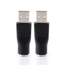 2pcs USB 2.0 A Male To PS/2 Female Adapters Converter Connector For PC Computer Keyboard Mouse(China)