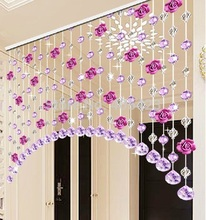 free shipping 1set home decor doorway room divider glass Crystal beaded and flower strands arch style Curtain(China)