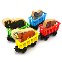 Animal Trains Car Wooden Animal Compartment Train Set Toy Baby Kids Magnetic Train Toys