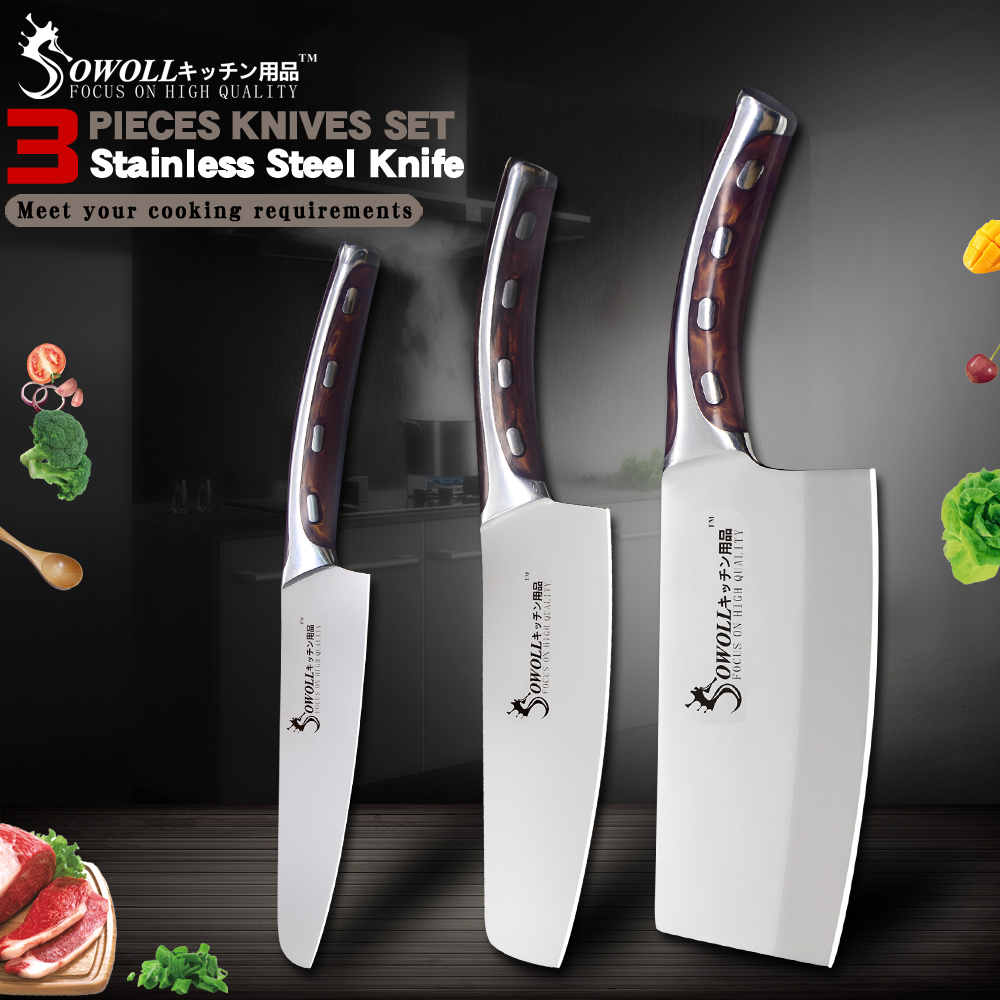 Sowoll Kitchen Stainless Steel Knife Fruit Meat Fish Cooking Accessories 5 inch Sharp Blade