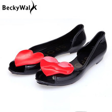 Candy Color Peep Toe Ladies Sandals Flat Women Summer Jelly Shoes Fashion Love Sandalias Mujer Casual Woman Shoes WSH2086