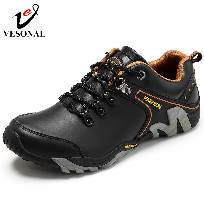 VESONAL Genuine Leather Walking Sneakers Male Shoes For Men Fashion Casual Spring Autumn Wear Resisting High Quality Footwear<br>