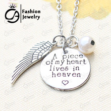 A piece of my heart lives in heaven Charm Hand Stamped Remembrance Loved Necklace Christmas Gift Jewelry 20Pcs/Lot #LN1279(China)