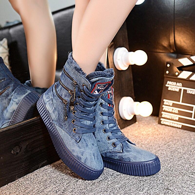 Warm Casual Canvas Shoes 35-40 Women Snow Cotton Short Boots Plus Velvet Denim Zipper Black /Blue Winter Boots Chaussure Femme<br><br>Aliexpress