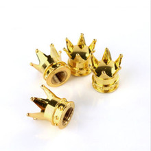 100% Brand New And High quality 4pcs Chrome Crown Gold Color Bling Tire Wheel Stem Valve Caps Set Car Truck(China)