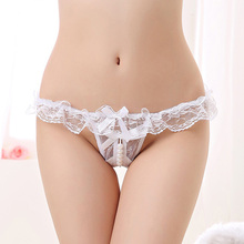 Free shipping open crotch g-string underwear plus size sex lingerie crotchless panties with pearl tangas sexy lace women thongs