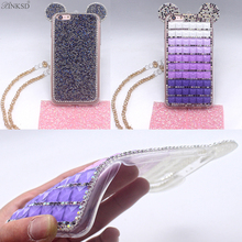 New Hot Fashion Bling Phone Cases 3D Mouse Ear Shinny Glitter TPU Diamond Crystal Shell Cover For iPhone 7 7plus 6 6plus Case