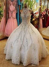 Luxury Heavily Beaded Corset Arabic Ball Gown Wedding Dress 2K17 See Through High Collar Real Photo Princess Bride Bridal Gowns