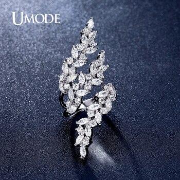Umode 2016 ajustable anillos 4x2mm marquise corte cubic zirconia del oro blanco plateó 0.1ct anillo de la joyería para las mujeres anillos anel ur0318