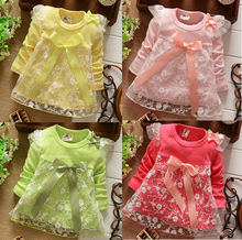 Good Quality  2017 baby girls Dresses  cotton Dress kids bow Lace princess dress  4colors Drop shipping