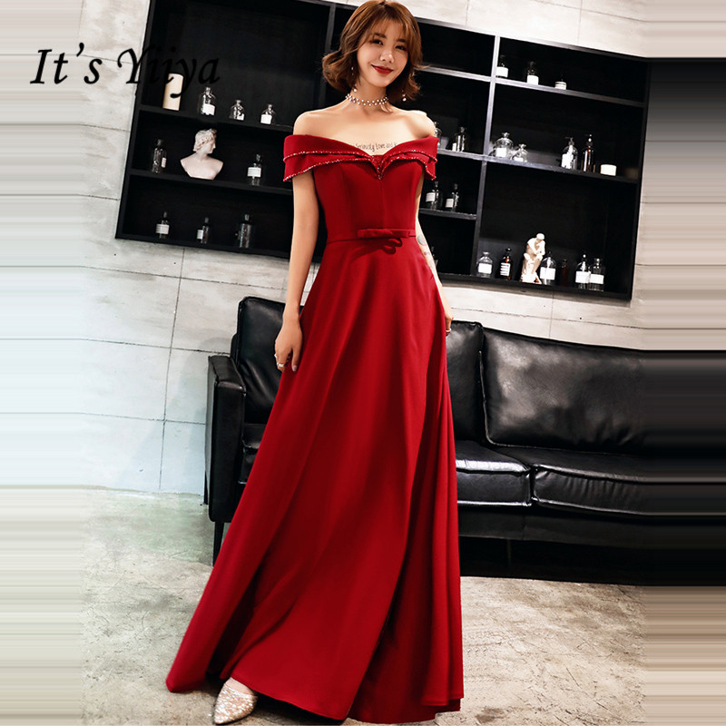 It's YiiYa Evening Dress 2019 Boat Neck Tiered Wine Red A-line Floor-length Evening Gowns Party Dresses LX1354 robe de soiree