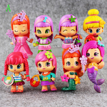 8cm mini 8pcs/lot new game the little girls Toys little lockable birthday puppy sleepover Action pvc figure dolls kids gifts(China)