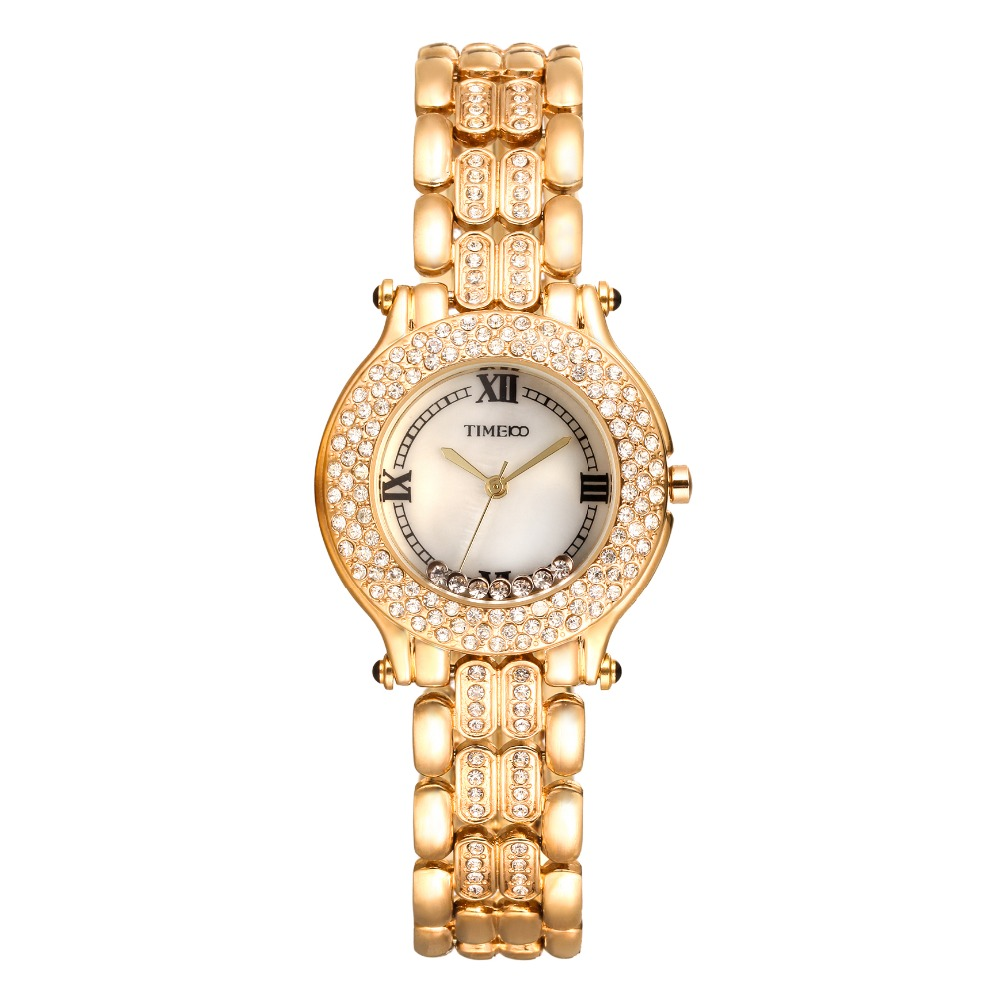 2016 New TIME100 Womens Watch Shell Dial Diamond Bezel Gold Alloy Strap Ladies Quartz Wrist Watches For Women relogio feminino<br>