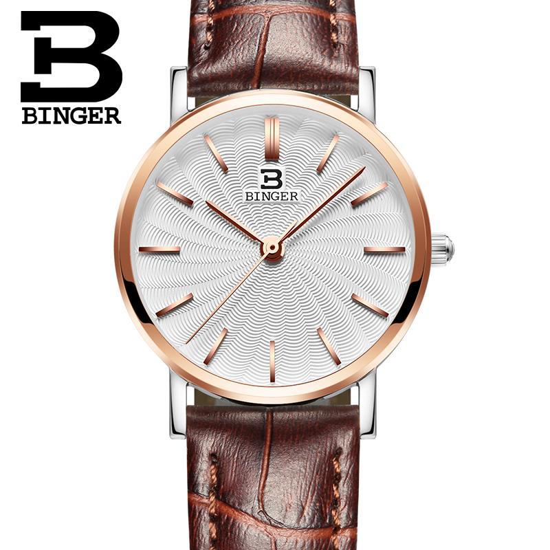 Switzerland BINGER women watches luxury brand quartz  genuine leather strap ultrathin Wristwatches Waterproof B3051W-6<br>