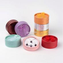 6pcs Valentines Day Gifts Packages Round Cardboard Jewelry Boxes, Mixed Color, about 8.5cm wide, 8.5cm long, 3.5cm high