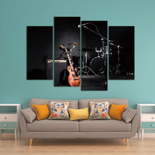 4 Panel Wall Art Painting The Music Of The Band Guitar And Shelf Drum Picture On Canvas For Living Room Decor Or As A Gift(China)
