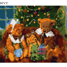 Free Shipping Bear Family Acrylic Handpainted DIY Paintings By Numbers Paint Painting On Canvas Cheap Pictures DIY426