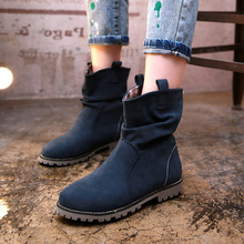 Flat Plus Size Women Ankle Boots Retro British style Martin boots Lady Warm Winter Snow Shoes Woman Big Size EU34-43 WSH897