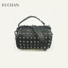 Euchan Women s Handbags Studs Bags for Women 2018 Ladies Bags Black Aging  Treatment PU Leather Crossbody Bag Small Messenger Bag b772e6cf18de