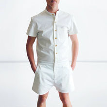 New Fashion Man's Sets Casual Short Sleeve One Piece Jumpsuits Summer Shirt Rompers Men(China)