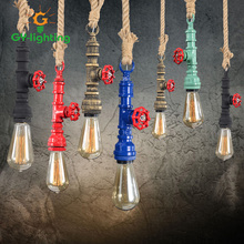 Colorful Steam Punk Loft Industrial Iron Water Pipe Pendant Lights Cafe Shore Decorative Lamp Fixture Lustres Bronze House Lamp